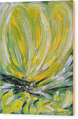Wood Print featuring the painting Yellow Butterfly by Jasna Dragun