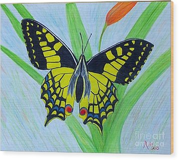Yellow Butterfly Wood Print by Peggy Miller