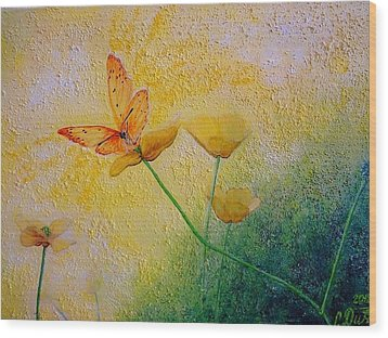 Yellow Butterfly Wood Print by Svetla Dimitrova