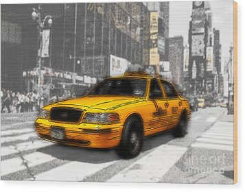 Yellow Cab At The Times Square -comic Wood Print by Hannes Cmarits