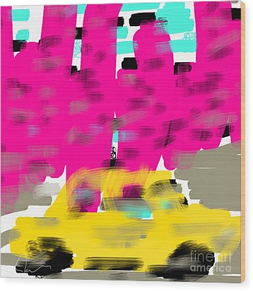Yellow Cab Big City Wood Print by James Eye