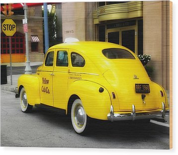 Yellow Cab Wood Print by Jewels Blake Hamrick