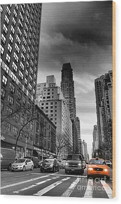 Yellow Cab One - New York City Street Scene Wood Print