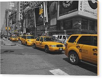Yellow Cabs Wood Print by Randi Grace Nilsberg
