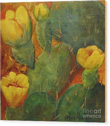 Yellow Cacti Wood Print