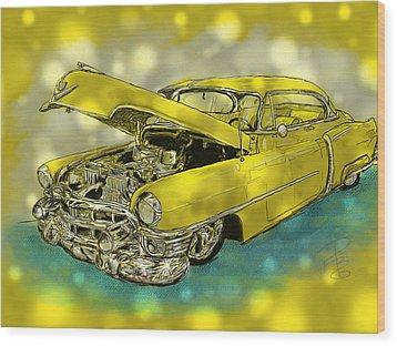 Yellow Cad Wood Print