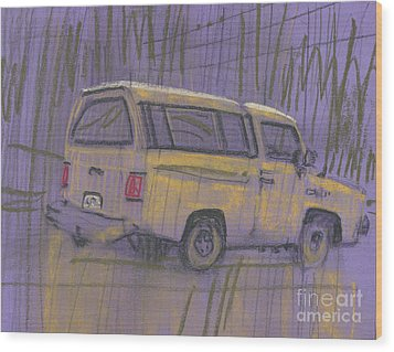 Wood Print featuring the painting Yellow Camper by Donald Maier