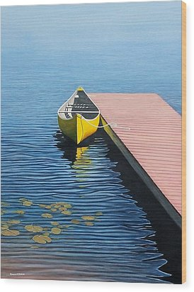 Yellow Canoe Wood Print