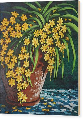 Wood Print featuring the painting Yellow Cascade by Katherine Young-Beck