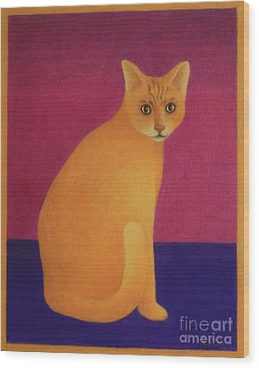 Yellow Cat Wood Print by Pamela Clements