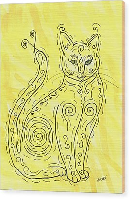 Wood Print featuring the painting Yellow Cat Squiggle by Susie Weber