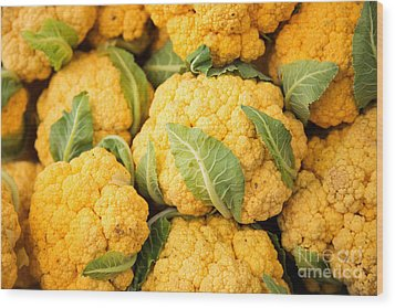 Yellow Cauliflower Wood Print by Rebecca Cozart