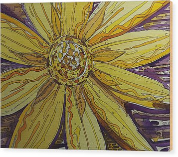 Yellow Chakra Wood Print by Terry Holliday