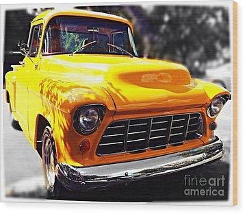 Yellow Chevy Wood Print by Garren Zanker