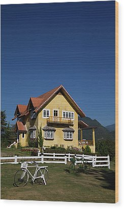 Yellow Classic House On Hill In Thailand  Wood Print