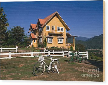 Wood Print featuring the photograph Yellow Classic House On Hill by Tosporn Preede