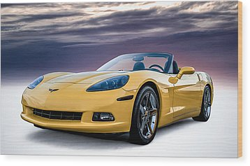 Yellow Corvette Convertible Wood Print