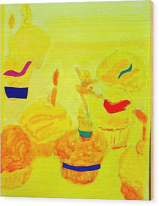Yellow Cupcakes Wood Print by Suzanne Berthier
