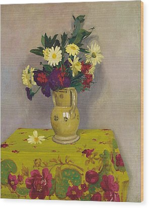 Yellow Daisies And Various Flowers Wood Print by Felix Edouard Vallotton