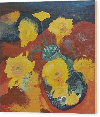 Yellow Daisies Wood Print by Joseph Demaree