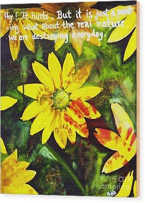 Yellow Daisies Wood Print by Mukta Gupta
