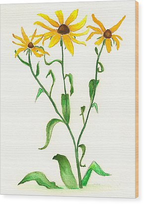 Wood Print featuring the painting Yellow Daisies by Nan Wright