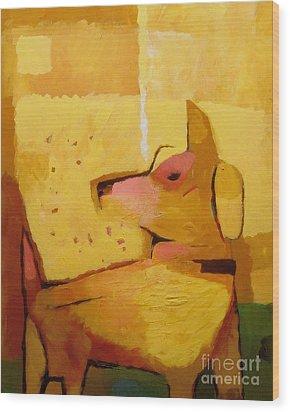 Yellow Dog Wood Print by Lutz Baar