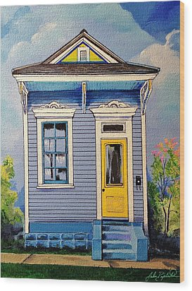 Yellow Door Shotgun  Wood Print