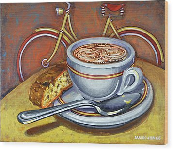 Wood Print featuring the painting Yellow Dutch Bicycle With Cappuccino And Biscotti by Mark Howard Jones