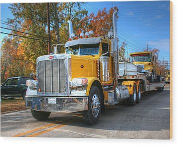 Yellow Eighteen-wheelers Wood Print by Ester  Rogers
