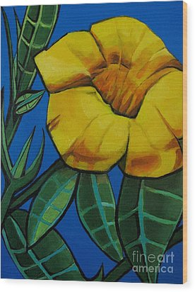 Yellow Elder - Flower Botanical Wood Print by Grace Liberator