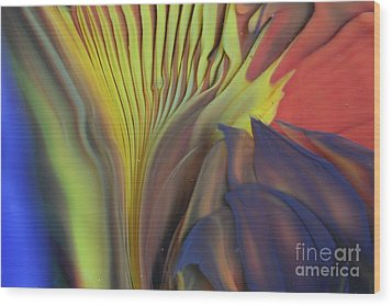 Yellow Fan And Flower Wood Print by Kimberly Lyon