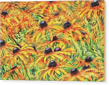 Wood Print featuring the photograph Dancing Susans by Geraldine DeBoer