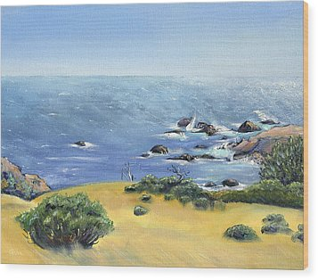 Wood Print featuring the painting Yellow Fields And Silvery Summer Sea by Asha Carolyn Young