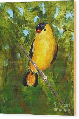 Yellow Finch Wood Print by Valerie Lynch