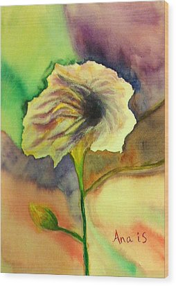Yellow Flower Wood Print by Anais DelaVega