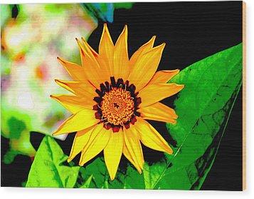 Yellow Flower Wood Print by Carolyn Reinhart