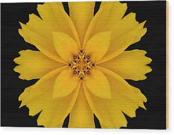 Yellow Flower Kaleidoscope Abstract Wood Print by Don Johnson