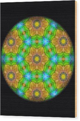 Yellow Flower Mandala Wood Print by Karen Buford