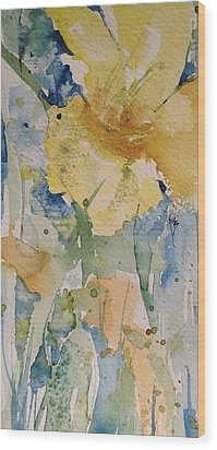 Yellow Flower Study Wood Print by Robin Miller-Bookhout