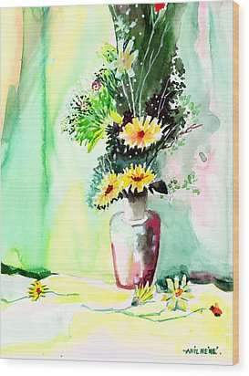 Yellow Flowers 1 Wood Print by Anil Nene