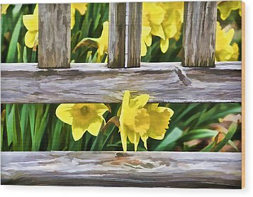 Yellow Flowers By The Bench Wood Print by David Letts