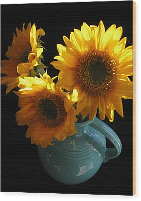 Wood Print featuring the photograph Yellow Flowers In Fiesta Pitcher by Patricia Januszkiewicz