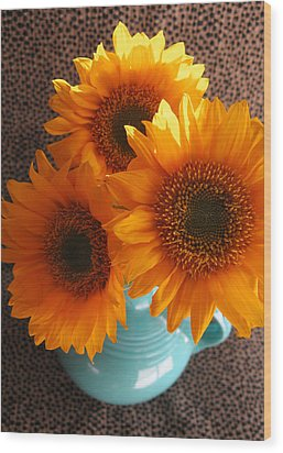 Wood Print featuring the photograph Yellow Flowers In Fiesta Ware by Patricia Januszkiewicz