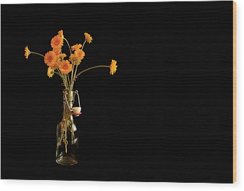 Orange Flowers On Black Background Wood Print