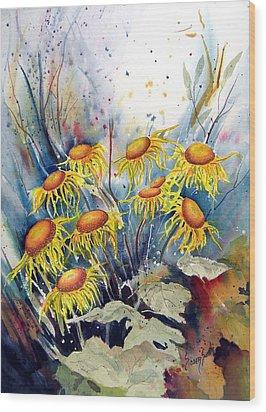 Yellow Flowers Wood Print by Sam Sidders
