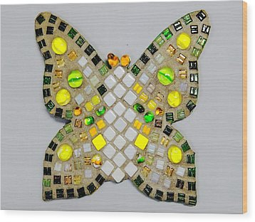 Yellow Flutterby Wood Print by Lisa Brandel