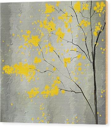 Yellow Foliage Impressionist Wood Print