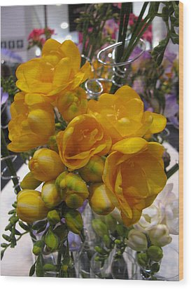 Yellow Freesia Wood Print by Alfred Ng