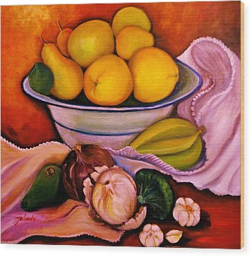 Wood Print featuring the painting Yellow Fruits by Yolanda Rodriguez